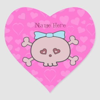 Pretty Pink Cartoon Skull & Hearts Personalized Heart Stickers