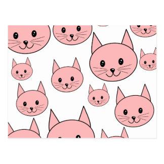 Pretty Pink Cats Pattern. Postcard