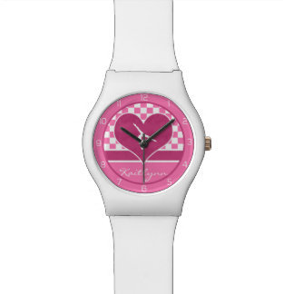 Pretty Pink Checkered Gymnastics with Monogram Watch