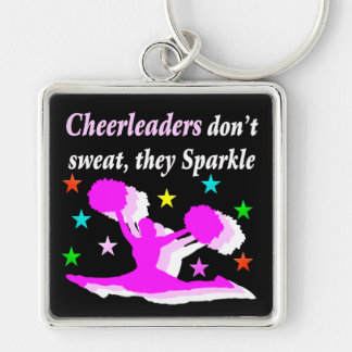 PRETTY PINK CHEERLEADERS DON'T SWEAR THEY SPARKLE KEYCHAIN