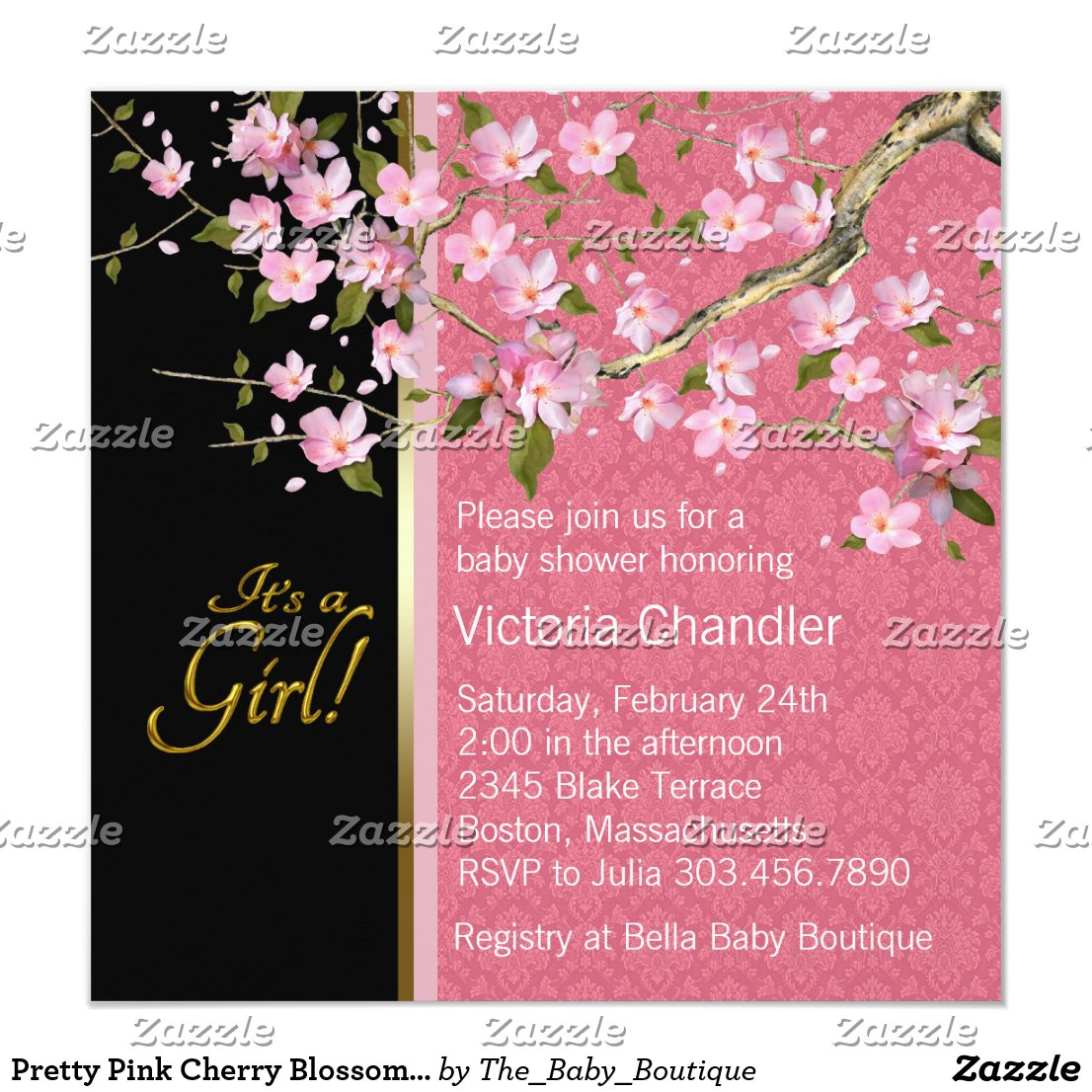 Pretty Pink Cherry Blossom Baby Shower Card