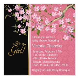 Pretty Pink Cherry Blossom Baby Shower Card