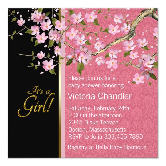 Pretty Pink Cherry Blossom Baby Shower Invitation Zazzle