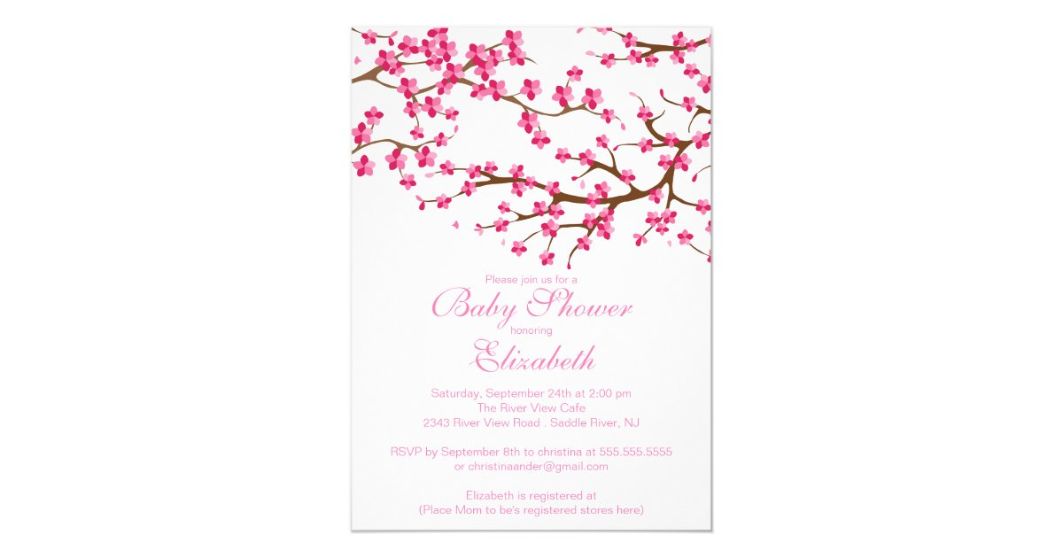 Pretty Pink Cherry Blossom Floral Baby Shower Card | Zazzle.com