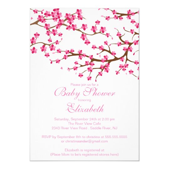 Pretty Pink Cherry Blossom Floral Baby Shower Invitation Zazzle