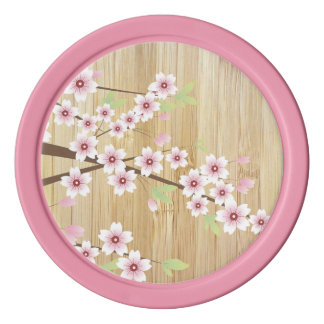 Pretty Pink Cherry Blossom with Bamboo Poker Chips