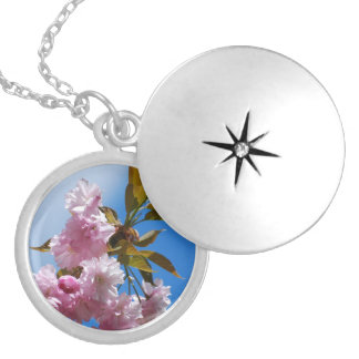 Pretty Pink Cherry Tree Silver Plated Necklace