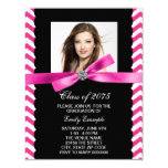 Pretty Pink Chevron Photo Graduation Card