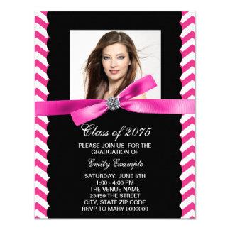 Pretty Pink Chevron Photo Graduation 4.25x5.5 Paper Invitation Card