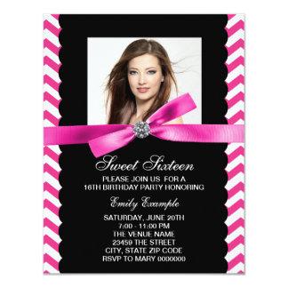 Pretty Pink Chevron Sweet Sixteen Birthday Party Card
