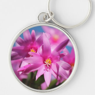 Pretty Pink Christmas Cactus Flowers Blooming Key Chains