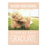 Pretty Pink Class of 2014 Graduation Party Photo Personalized Announcement