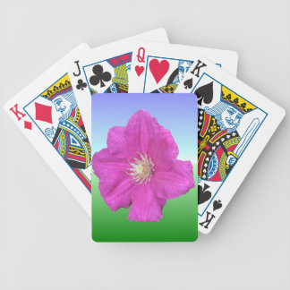 Pretty Pink Clematis Flower Bicycle Playing Cards