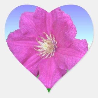 Pretty Pink Clematis Flower Heart Sticker