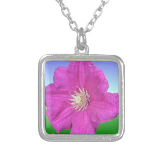 Pretty Pink Clematis Flower Square Pendant Necklace