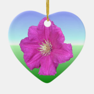 Pretty Pink Clematis Flower Double-Sided Heart Ceramic Christmas Ornament