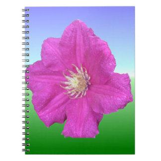 Pretty Pink Clematis Flower Spiral Notebook