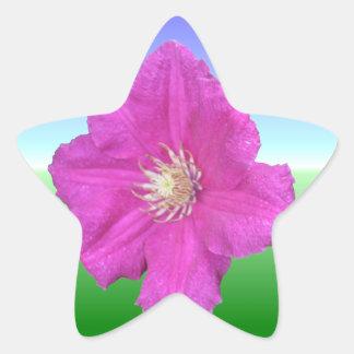 Pretty Pink Clematis Flower Sticker