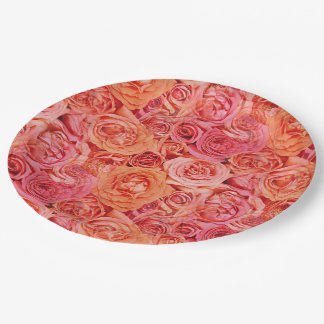 Pretty Pink Coral Red Orange Roses Flowers Pattern Paper Plate
