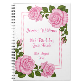 Pretty Pink Corner Bouquets 18th Birthday Notebook