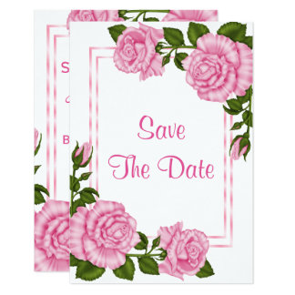 Pretty Pink Corner Bouquets 70th Save The Date Card