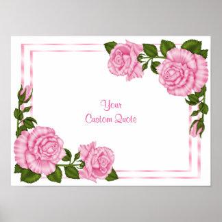 Pretty Pink Corner Bouquets Birthday Poster
