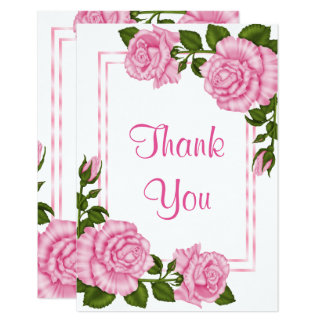 Pretty Pink Corner Bouquets Thank You Card