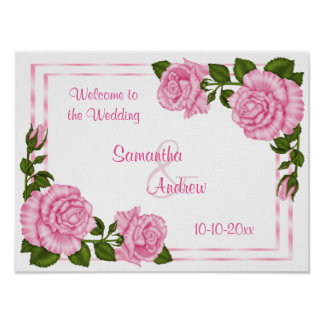 Pretty Pink Corner Bouquets Wedding Welcome Poster