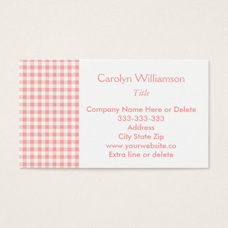 Pretty Pink Country Checkered Personal or Company Business Card