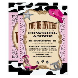 Pretty Pink Cowgirl Birthday Party Invitations