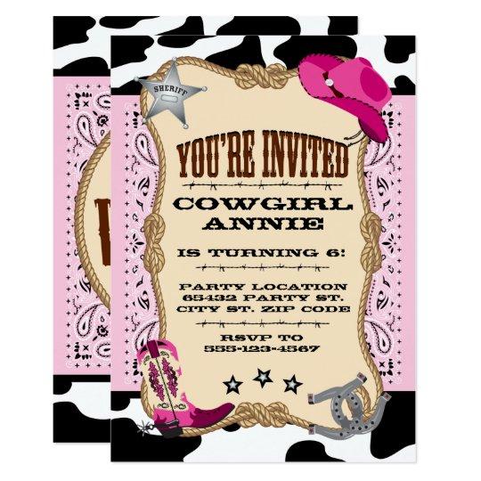 Pretty Pink Cowgirl Birthday Party Invitations Zazzle Com