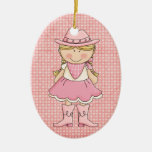 Pretty Pink Cowgirl (blonde) Christmas Tree Ornaments