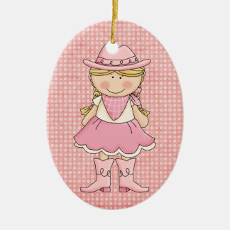Pretty Pink Cowgirl (blonde) Double-Sided Oval Ceramic Christmas Ornament