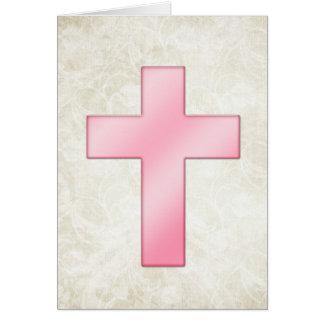 Pretty Pink Cross 3 Blank Christian Greeting Card