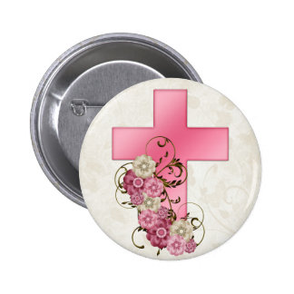 Pretty Pink Cross with Flowers Christian D1 Pinback Button