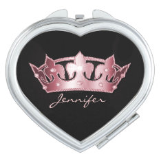 Pretty Pink Crown Compact Mirror at Zazzle