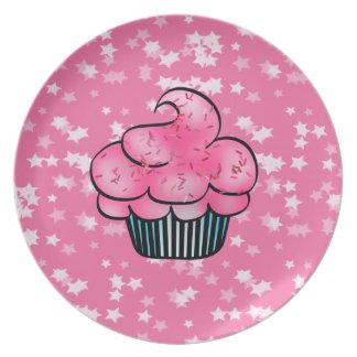 Pretty Pink Cupcake & White Stars Plate