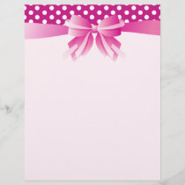 Pretty Pink Custom Letterhead with Polka Dots