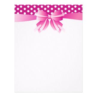 Pretty Pink Custom Letterhead with Polka Dots