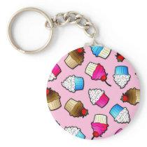 Pretty Pink Cute Cupcakes Print Keychain