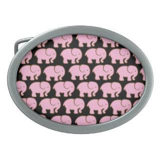 Pretty Pink Cute Elephants on Black Belt Buckles