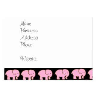 Pretty Pink Cute Elephants on Black Large Business Cards (Pack Of 100)