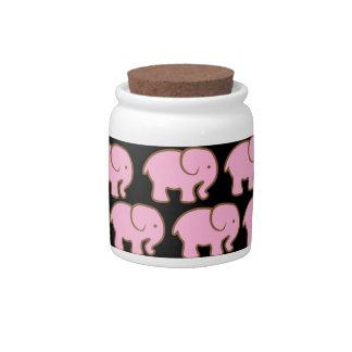 Pretty Pink Cute Elephants on Black Candy Jars