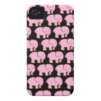 Pretty Pink Cute Elephants on Black iPhone 4 Case