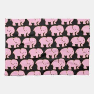 Pretty Pink Cute Elephants on Black Kitchen Towel