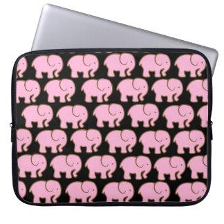 Pretty Pink Cute Elephants on Black Laptop Sleeve