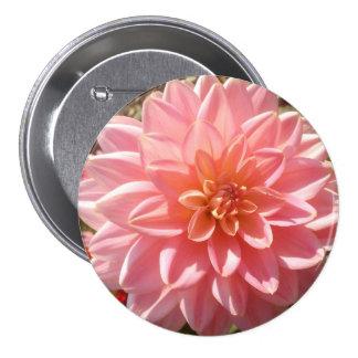 Pretty Pink Dahlia Flower Pinback Button