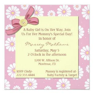 Pretty Pink Daisies Baby Shower Invitation