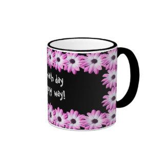 Pretty pink daisy flowers mug, gift idea