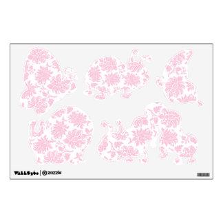 Pretty Pink Damask Baby Bugs Wall Skin